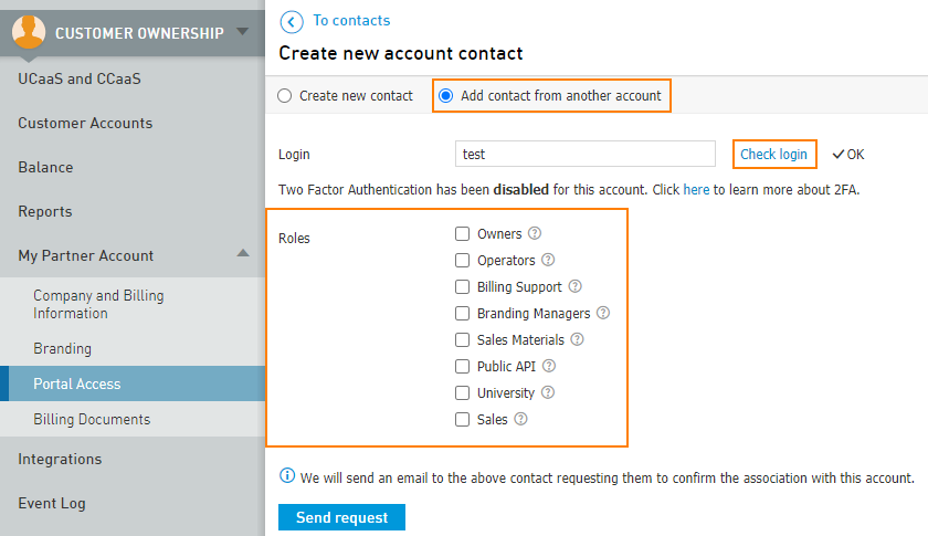Add contact from another account