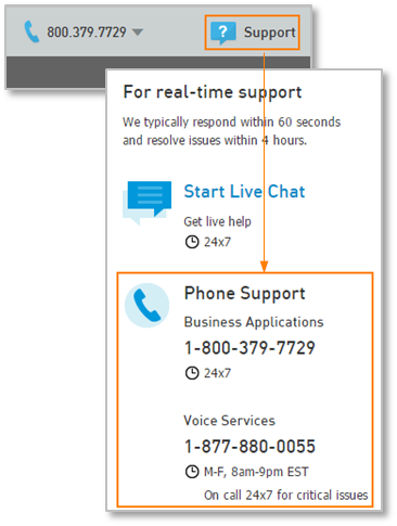 Support Number in the Partner Portal