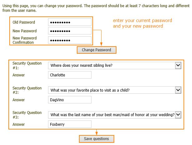 Change password and update security quesions