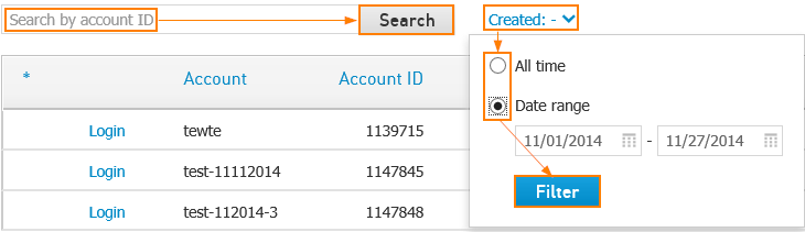 Filter and search accounts
